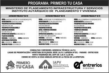 Licitan nuevas viviendas en San Salvador, Larroque y Valle María