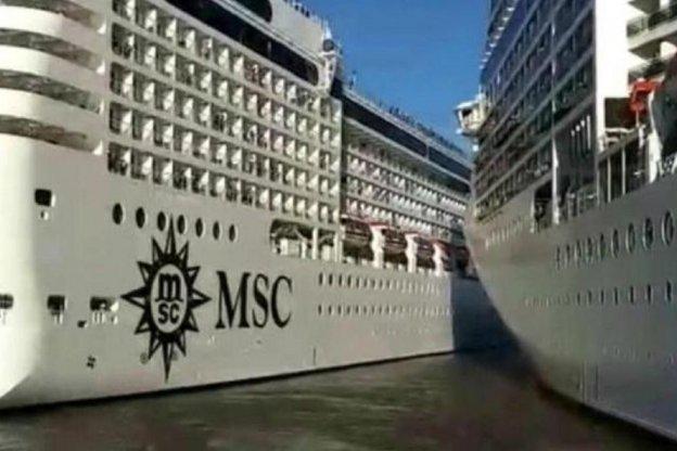 Chocaron dos cruceros en el Puerto de Buenos Aires. El video