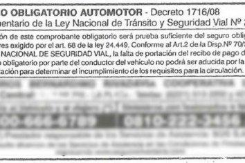 No hace falta llevar los comprobantes de pago del Seguro Automotor Obligatorio