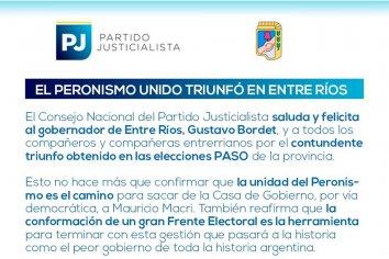 """El PJ Nacional celebró la victoria del """"Peronismo unido"""""""
