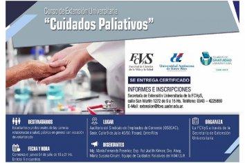 Se dictará un curso con extensión universitaria de Cuidados Paliativos
