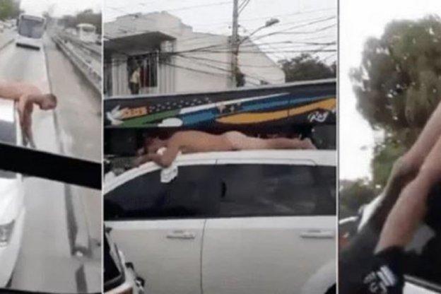 Desnudó a su marido infiel y lo paseó en el techo del auto
