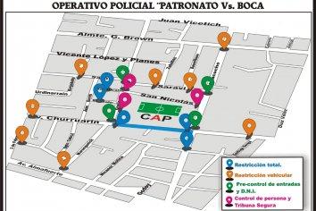 Operativo policial Patronato vs Boca Juniors