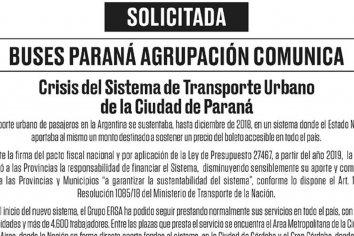 Buses Paraná comunicó sobre la crisis del transporte urbano
