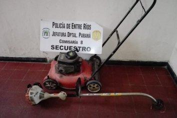 Detuvieron a un sujeto con una cortadora de ceped robada