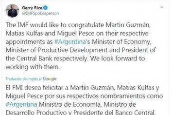 El FMI felicitó a Alberto Fernández por el gabinete económico elegido
