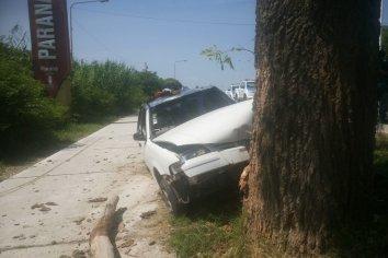 Se despertó chocando con un árbol en la salida de Paraná