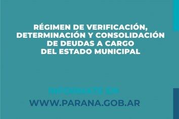 Comienza a implementarse el Régimen de Verificación, Determinación y Consolidación de Deudas a cargo de la Municipalidad