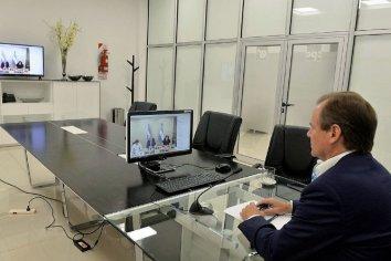 El gobernador Bordet en videoconferencia con el presidente Alberto Fernández
