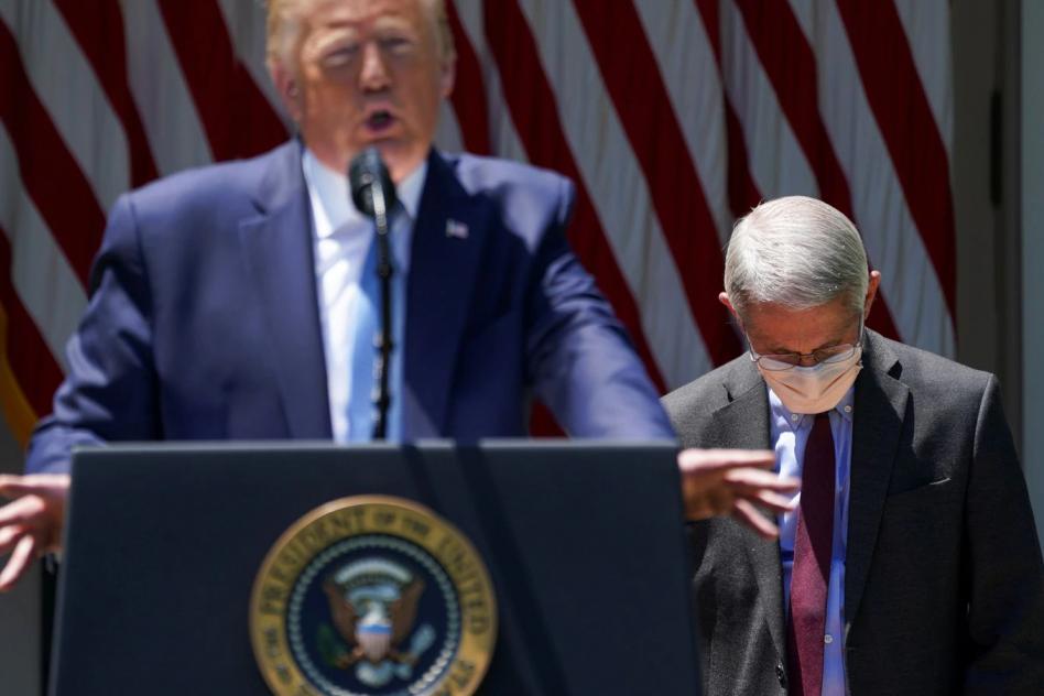 Donald Trump y el epidemiólogo Anthony Fauci