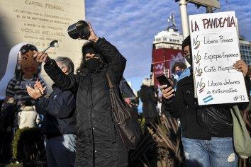 Manifestantes autoconvocados se movilizaban en rechazo de la cuarentena