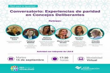 Convocan al conversatorio virtual Experiencias de paridad en Concejos Deliberantes