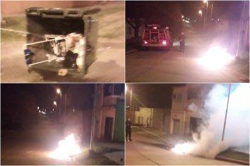 Contenedores incendiados: Esta vez los daños fueron en Barrio Lomas del Rocamora