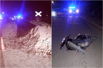 Motociclista chocó contra dos autos y debió ser hospitalizado