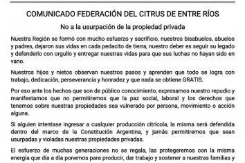 Foro de Entidades Empresarias de Entre Ríos repudia las usurpaciones y defiende el Estado de Derecho
