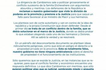 El Partido Justicialista de Entre Ríos le respondió a Juntos Por El Cambio