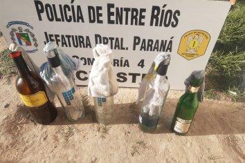 Hallaron cinco bombas molotov en un cantero