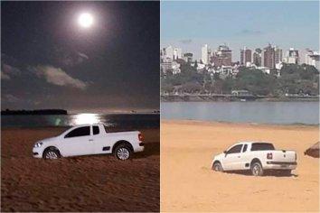 Intentó evadir un control escapando por la playa y quedó atorado en la arena