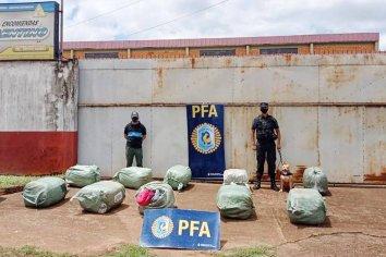La PFA, con la ayuda del perro Huma, incautó 182 kilos de marihuana y detuvo a dos personas