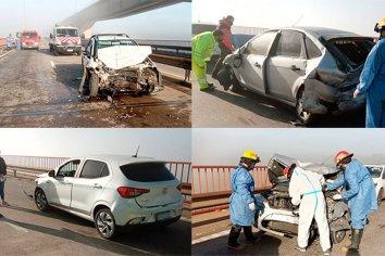 Tres heridos tras choque entre 8 autos